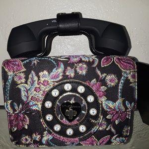 BETSY JOHNSON FLORAL HELLO PHONE TOP HANDLE CROSSB